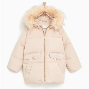 Zara kids girl down jacket puffer fur size 7